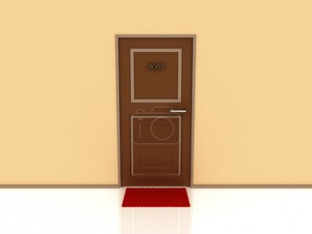 Door marked Boss and rug. 3D