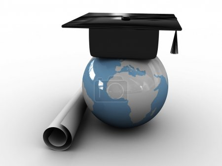 Master's cap for graduates in the globe. 3D