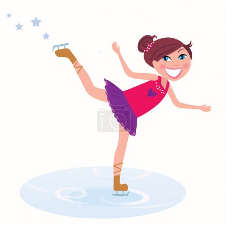 Young girl training figure skating on ice