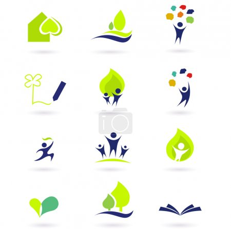 Illustration for Vector illustrations abstract icons: nature, and education set. - Royalty Free Image