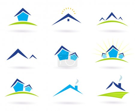 Illustration for Collection of green and blue real estate icons. Vector format. - Royalty Free Image