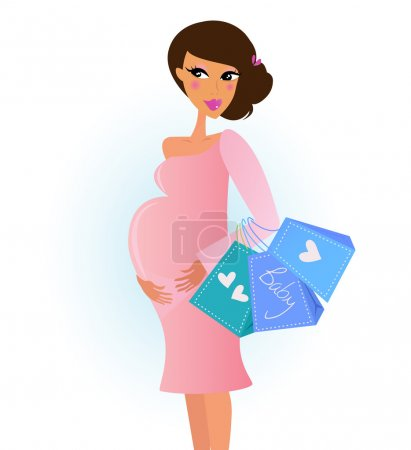 A fashionable pregnant woman in pink with shopping bags