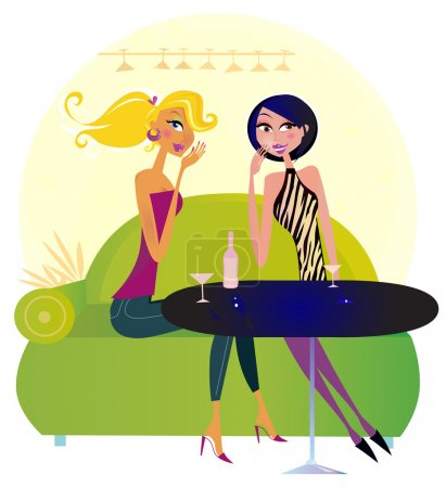 Illustration for Two women in a trendy night club sharing gossip. Lifestyle vector Illustration. - Royalty Free Image