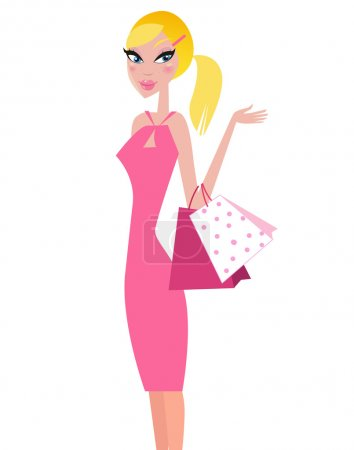 Shopper girl in pink dress carrying shopping bags