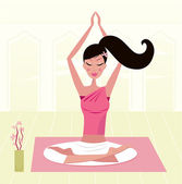 Girl having healthy lifestyle: relaxing woman in yoga lotus position Vector Illustration