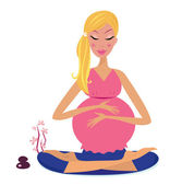 Woman holding belly and meditating in yoga lotus position Vector Illustration