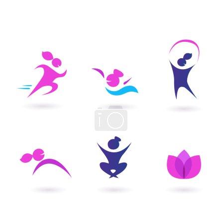 Illustration pour Ensemble de fille en mouvement et des icônes de beauté. Vecteur. - image libre de droit