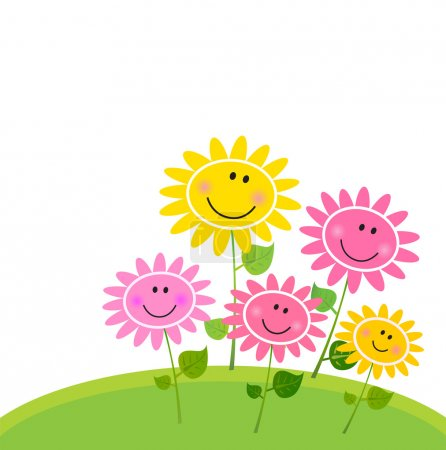 Illustration for Cute flower garden with happy flowers. Vector Illustration. - Royalty Free Image