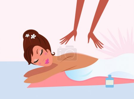 Woman receiving back massage with closed eyes