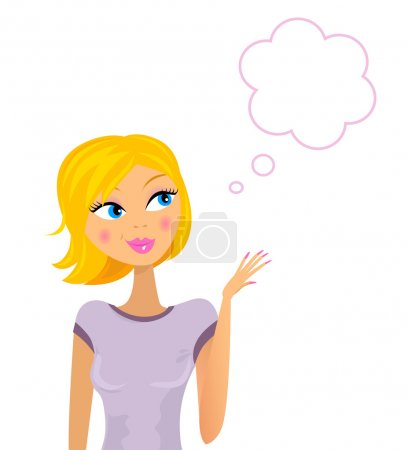 Illustration pour Linda mujer pensando / mostrando algo. Vector illustraiton. - image libre de droit