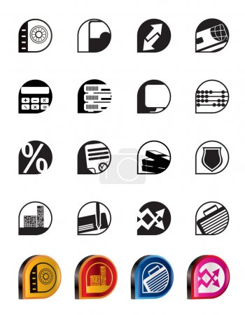 Illustration for Simple bank, business, finance and office icons - vector icon set - Royalty Free Image