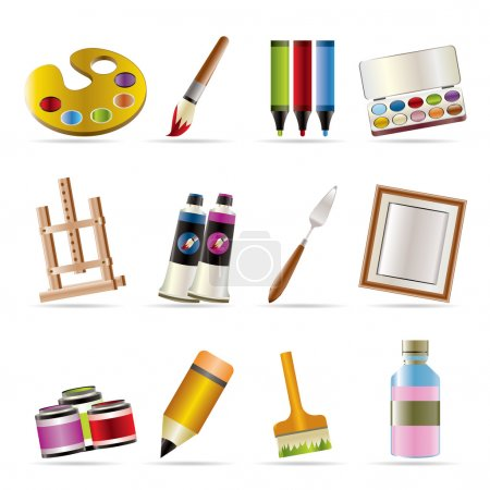 Illustration for Painter, drawing and painting icons - vector icon set - Royalty Free Image