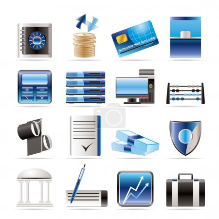 Illustration for Bank, business, finance and office icons - vector icon set - Royalty Free Image
