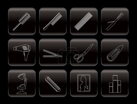 Line hairdressing, coiffure and make-up icons