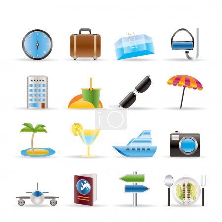 Illustration for Travel, trip and tourism icons - vector icon set - Royalty Free Image