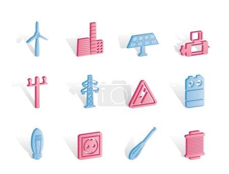 Illustration pour Icônes électriques et électriques - ensemble d'icônes vectorielles - image libre de droit