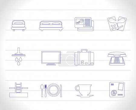 Illustration for Hotel and motel icons - Vector icon Set - Royalty Free Image