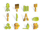 Picnic barbecue and grill icons