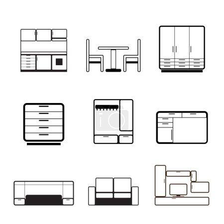 Illustration pour Icônes de meubles et d'ameublement - ensemble d'icônes vectorielles - image libre de droit