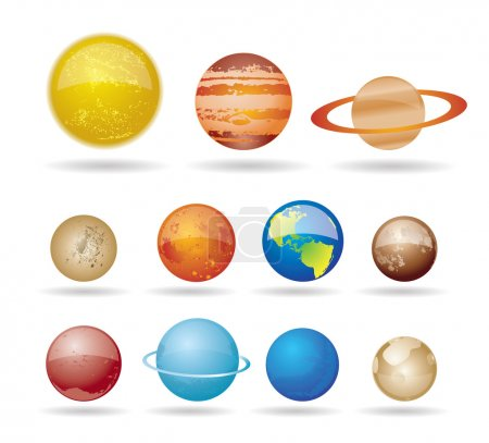 Illustration for Planets and sun from our solar system. Vector illustration - Royalty Free Image