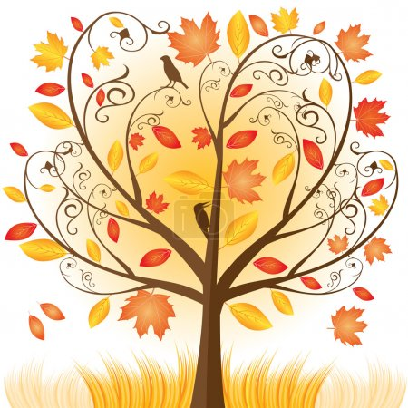 Illustration for Beautiful autumn tree with fall Leafs - vector illustration - Royalty Free Image