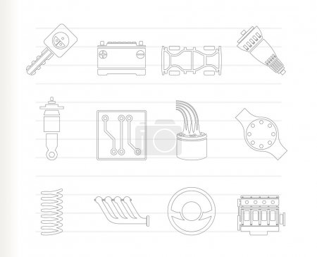 Illustration pour Icônes de pièces et services de voiture réalistes - Ensemble d'icônes vectorielles 2 - image libre de droit