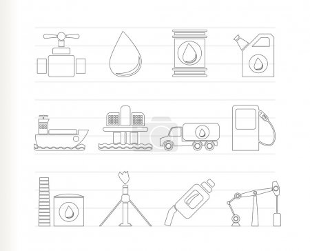 Illustration for Oil and petrol industry objects icons - vector icon set - Royalty Free Image