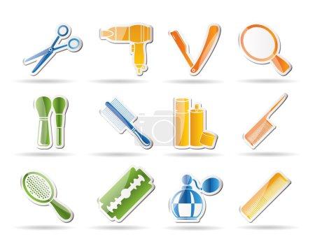 Illustration pour Cosmétique, maquillage et coiffure icônes - ensemble d'icônes vectorielles - image libre de droit