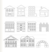 Different kinds of houses and buildings - Vector Illustration