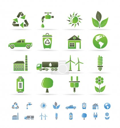 Illustration for Ecology and environment icons - vector icon set - Royalty Free Image