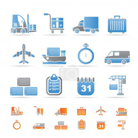 Illustration for Logistics, shipping and transportation icons - vector icon set - Royalty Free Image