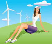 Woman and wind turbine in background