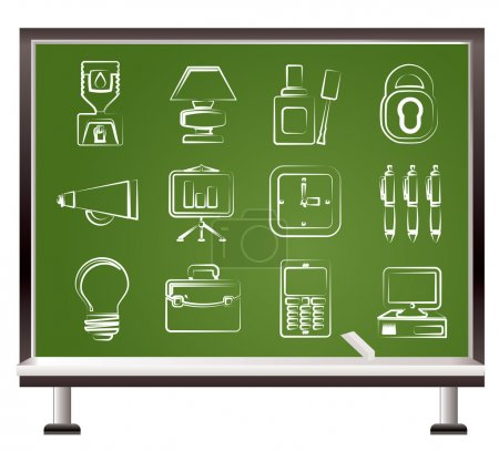 Illustration for Painted with chalk Business and office icons - vector icon set - Royalty Free Image