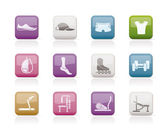 Sports equipment and objects icons - vector icon set 1
