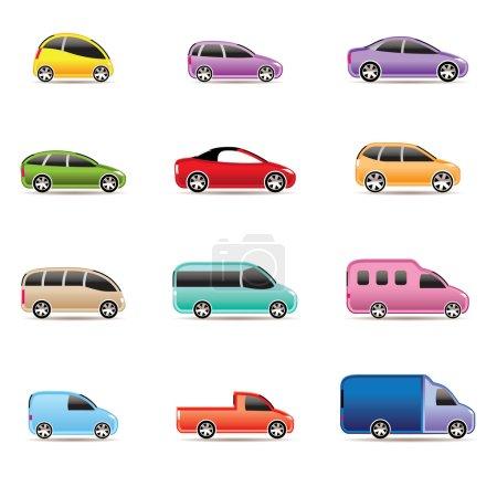 Illustration pour Différents types d'icônes de voitures - icon set vector - image libre de droit
