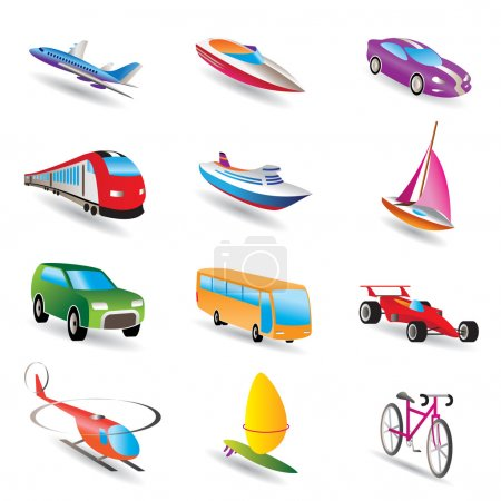 Photo for Different kind of transportation and travel icons - vector icon set - Royalty Free Image