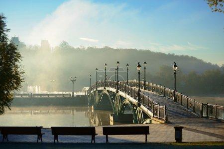 Photo pour Automne. Aube dans le parc Tsaritsino à Moscou. Le pont. Russie - image libre de droit