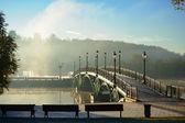 Autumn. Dawn in park Tsaritsino in Moscow. The bridge. Russia