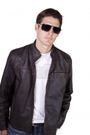 Photo for Isolated Sexy Male model with jacket and sunglasses - Royalty Free Image