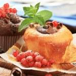 Tasty sponge cakes styled with fresh fruit...