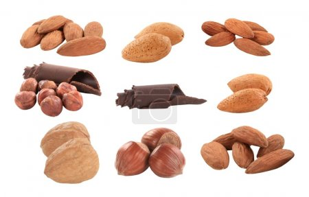 Photo for Variety of nuts - hazelnuts, walnuts and almonds - Royalty Free Image
