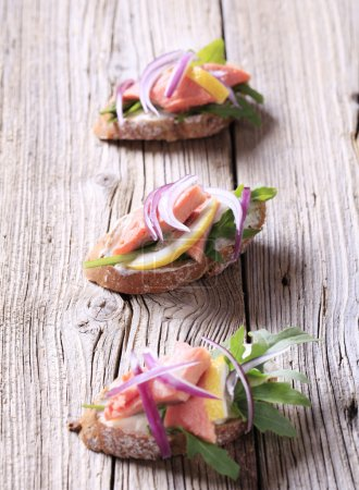 Salmon open faced sandwiches