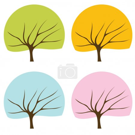 Colorful tree vector background set