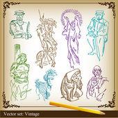 Medieval vector background set