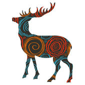 Deer Christmas vector background for card