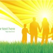 Family walking vector background