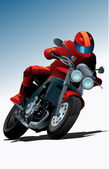 Sport motorcycle vector with driver for poster