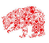 Bear colorful vector background made with snowflakes for poster