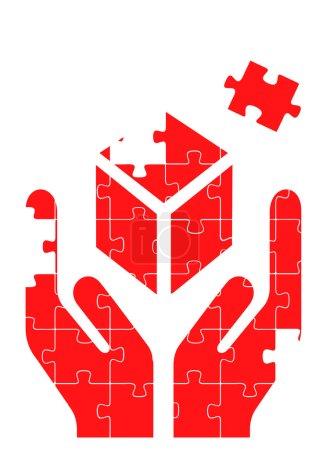 Hands puzzle vector background