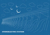 Hydro power station vector blueprint background